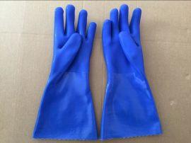 顺兴厂家直销 pvc 工作手套 劳保用品 加长 浸砂耐油耐酸碱35cm