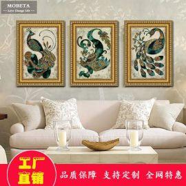凤凰欧美新古典风格有框壁画挂画三联客厅沙发卧室背景墙装饰画