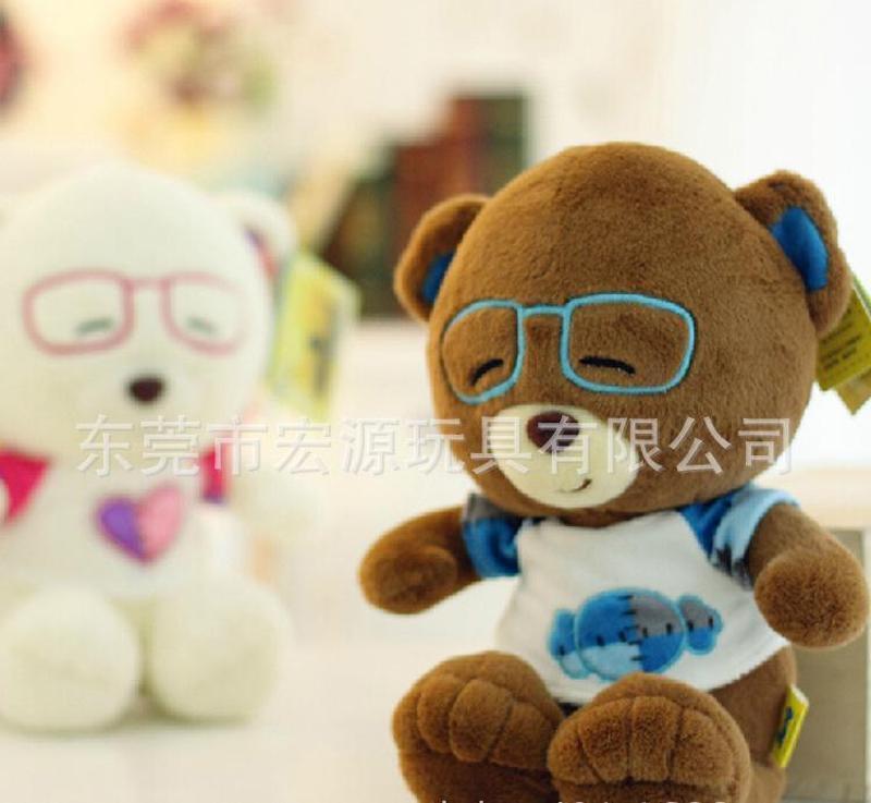 毛绒玩具,来图定制毛绒玩具眼镜熊,来样开发设计塑胶眼睛熊