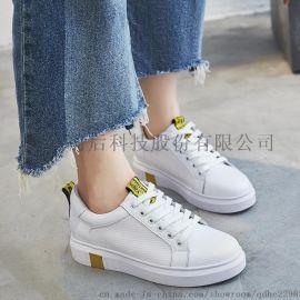 新款韓版真皮小白鞋女繫帶平底休閒鞋平色鞋底單鞋百搭女鞋
