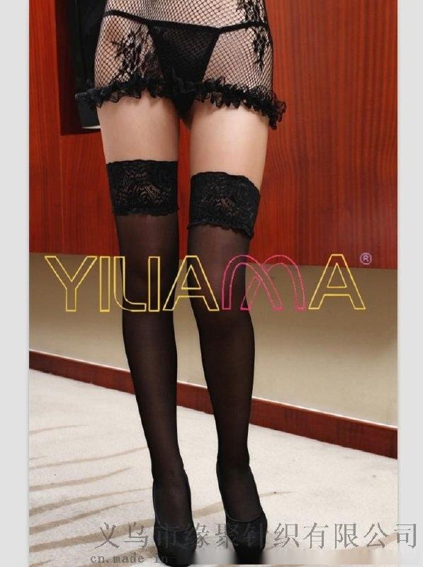 時尚蕾絲花邊包芯絲長統襪