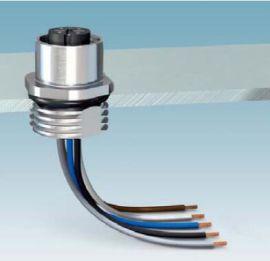 PCB板M12穿板式插座,M12以太网交换机接插件