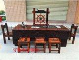 老船木茶几簡約實木大板茶桌椅組合茶臺船木流水茶桌