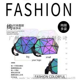 夜光变色半圆化妆包热卖几何菱格图案贝壳型几何包