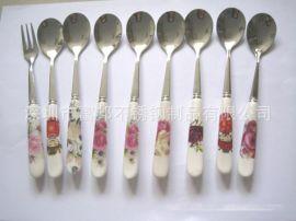 陶瓷勺 瓷柄咖啡勺 (多款花色可选)