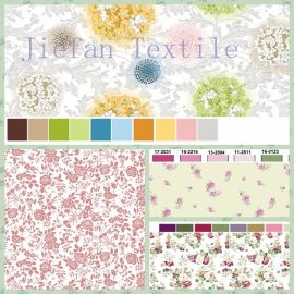 多种风格的涂料印花涤纶布
