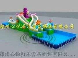 郑州心悦充气水滑梯高质量水上闯关乐园