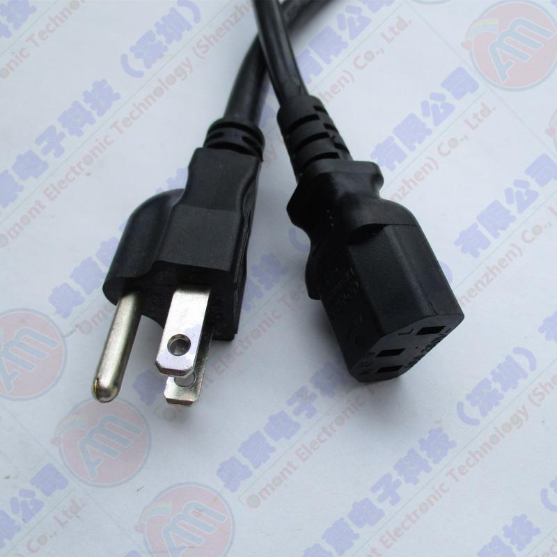 美标AC电源线 3芯美标插头线 18AWG美标电源线 10A美标插头线