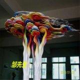 玻璃钢树 仿真雕塑 卡通彩绘祥云图案 树脂雕塑定制