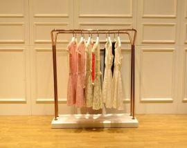 服装店中岛架-双排服装展示架-女装店落地式衣帽架