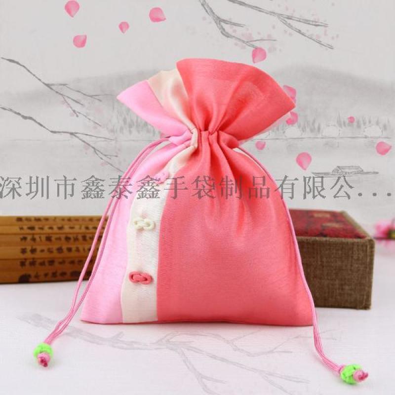 生产红色绒布束口拉绳袋