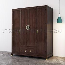 新中式实木衣柜 推拉式四门2m大衣橱卧室禅意家具