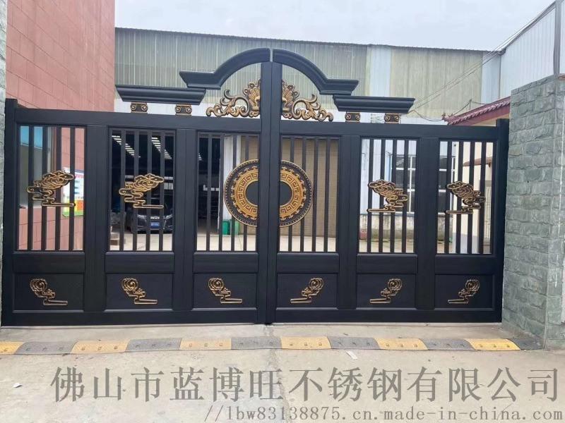 定製別墅對開門鄉村庭院大門農村防盜門 不鏽鋼門雙開