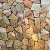 黃木紋不規則冰裂紋碎拼景觀牆石毛石片石散石護坡石