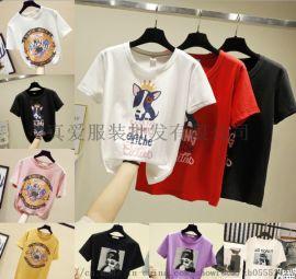 韩版圆领女装T恤 库存处理女T恤货源 2元女装T恤