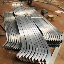 金属型材拉弯铝方管线条 仿木纹弧形铝方管线条