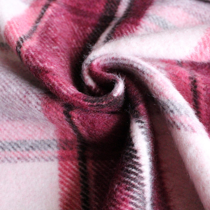 厂家直销现货粗纺面料女装单面顺毛格子呢面料