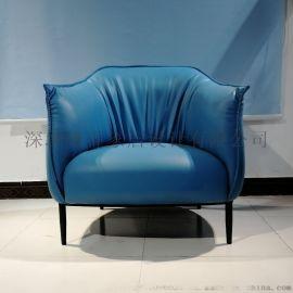 藍色皮革不鏽鋼單人沙發休閒椅