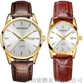 唯吉克男女情侣手表,双日历手表,JP-WY002