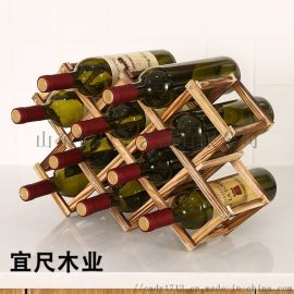 山东实木红酒架葡萄酒架子创意折叠木酒架摆件多瓶装