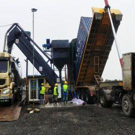火车站粉煤灰中转卸车机 无尘拆箱机 集装箱卸灰机