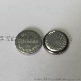 3V可充电锂锰纽扣电池160ML1220充电电池