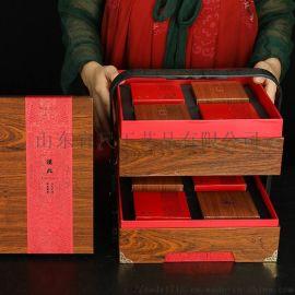 **木纹月饼包装8粒装礼品盒空盒