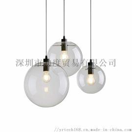 跨境美式工业风玻璃吊灯 创意工业风咖啡厅吧台客厅单头餐厅灯具