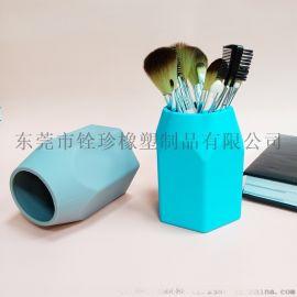 硅胶笔筒儿童文具收纳筒多功能文具化妆刷收纳盒