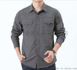 春夏季男装户外登山长袖宽松速干衬衫薄款透气快干衬衣