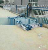 宠物店门口PVC护栏 塑钢蓝色插条围栏 预埋方管插片护栏