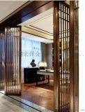 新中式现代工艺拉丝防指纹酒店别墅不锈钢花格屏风