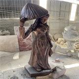 佛山玻璃鋼仿紅銅人物雕塑定製 公園女孩人物雕塑