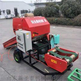 全自动大型玉米秸秆打捆包膜机 柴油全自动打捆一体机