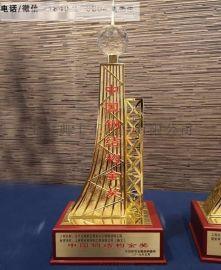 天水建筑工程奖杯定制、中国钢结构金奖杯厂家定做
