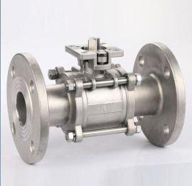 不锈钢三片式法兰球阀 手动铸钢法兰连接3Pc球阀
