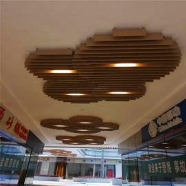 中餐厅吊顶木纹铝方管 营业厅吊顶型材铝方管
