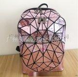 時尚水滴雙戶包拉鏈款學生書包幾何菱格背包戶外旅行包