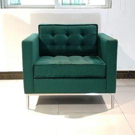 布藝皮革不鏽鋼實木框架單人沙發 休閒椅家具定制