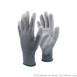 立特邦防护科技  13针灰色手套 浸白PU涂掌手套