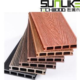 深压花木塑空心地板立体压纹塑木圆孔地板