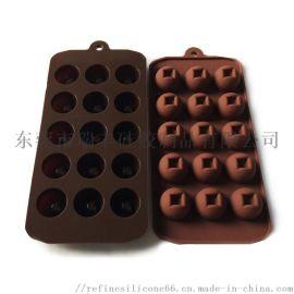 工厂直销15孔半圆硅胶巧克力模 DIY硅胶模具