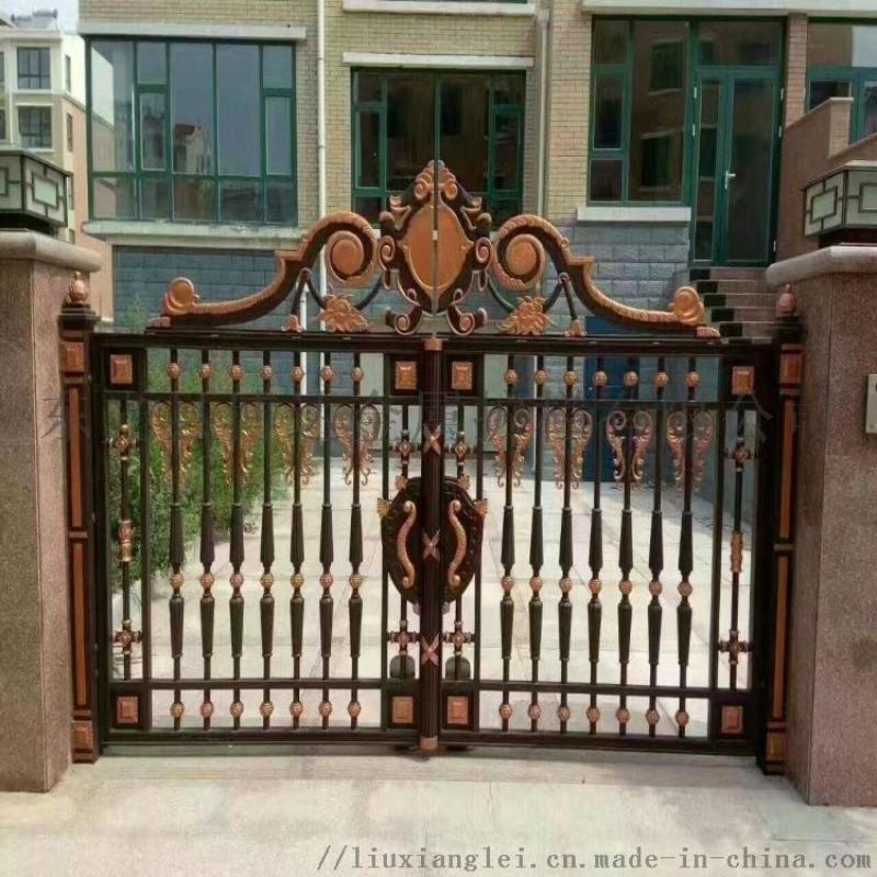 臨滄鳳慶縣小區圍牆鐵藝護欄黑紗紋鏤空庭院大門