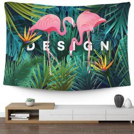 定製房間裝飾掛毯 數碼印花背景布 熱帶植物掛布壁毯
