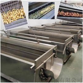 马铃薯毛刷清洗设备,大型马铃薯清洗流水线
