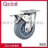 平板式重型不鏽鋼灰色人造膠腳輪