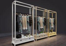 服装店落地中岛展示架-女装店实木挂衣架
