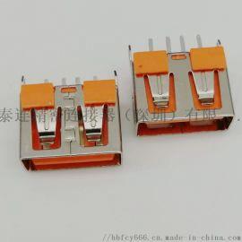 180度立式插板 USB 2.0 母座 4P 180度直插DIP 鱼叉脚 短体10.0 直边 橙色胶芯