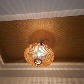 北欧现代木艺简约餐厅飞碟吊灯吧台卧室实木灯笼吊灯