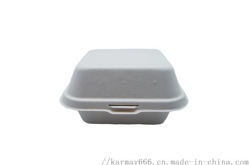 6寸殼形漢堡盒紙漿可降解打包盒微波爐適用